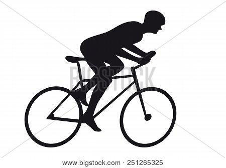 Road Cycling Cyclist Bicyclist Cycle Race Icon Silhouette. Bicyclist Riding Bicycle Isolated On Whit