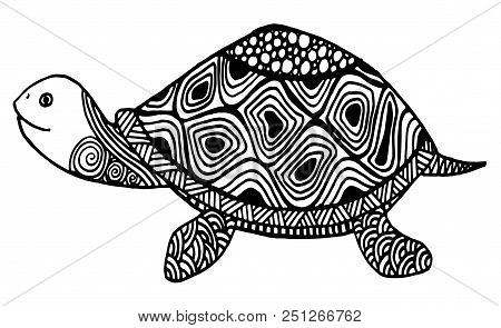Turtle Coloring Book For Adults Vector Illustration. Anti-stress Coloring For Adult. Zentangle Style