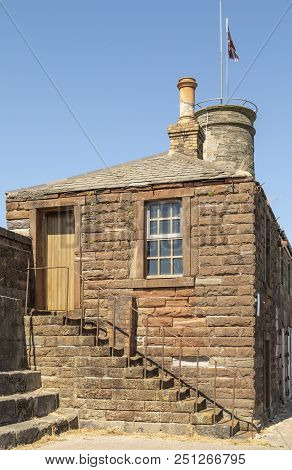 An Image Of The Historic Ancient House And Lookout Tower At Whitehaven Harbour, Cumbria, England, Uk
