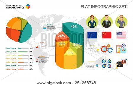 International Business Percentage And Pie Charts Template For Presentation. Abstract Elements Of Dia