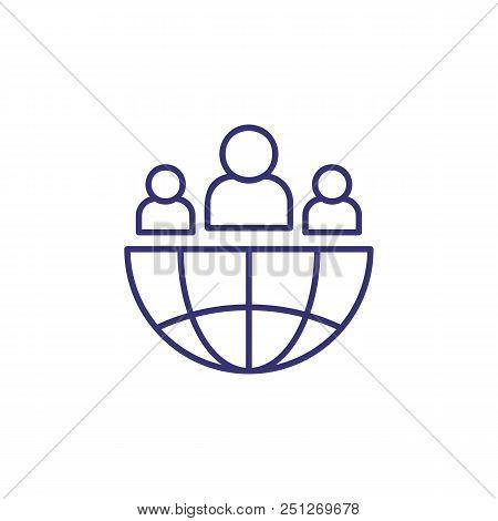 International Community Line Icon. Globe, Hemisphere, People, Team. Global Networking Concept. Can B