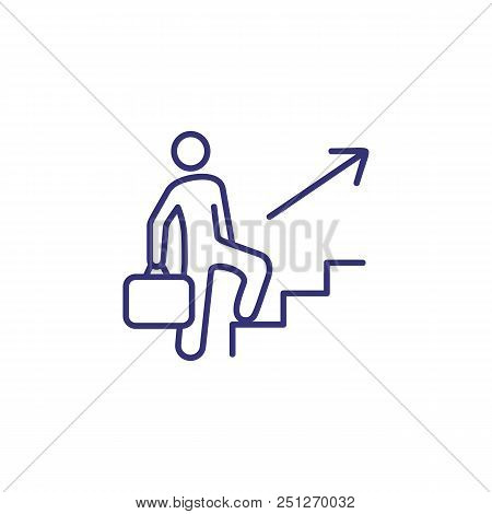 Promotion Line Icon. Man, Employee, Upstairs, Briefcase. Development Concept. Can Be Used For Topics