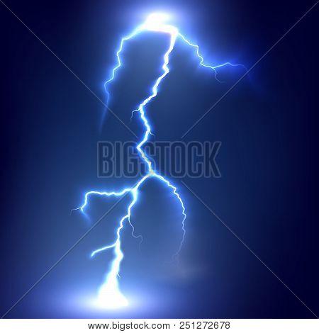 Thunderbolts On A Dark Background. Realistic Lightning