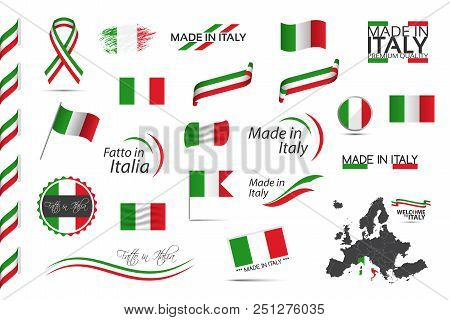 Big Set Of Italian Ribbons, Symbols, Icons And Flags Isolated On A White Background, Made In Italy,