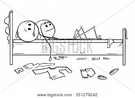 Cartoon Stick Drawing Conceptual Illustration Of Happy Couple In Bed. Man And Woman Are Satisfied Af