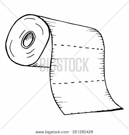Roll Of Toilet Paper. Roll Of Paper Towels. Vector Of Toilet Paper, Paper Towels. Hand Drawn Toilet