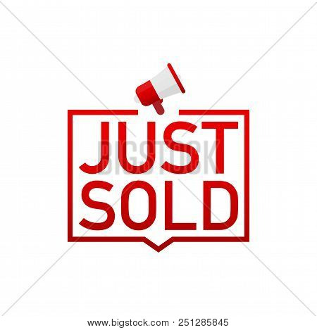 Red Label Just Sold On White Background. Vector Stock Illustration.