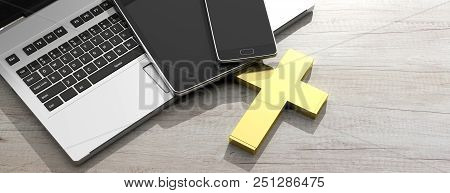 Christianity And Technology. Golden Cross And Electronic Devices, Wooden Background. 3d Illustration