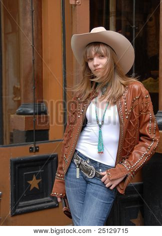 Young Girl Shopping Western Wear Store