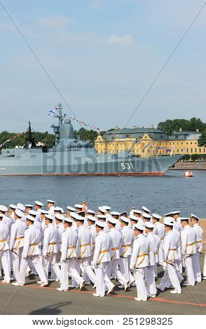 St. Petersburg, Russia - July 26, 2018: Navy Officers Of Russian Military March In White Formal Unif