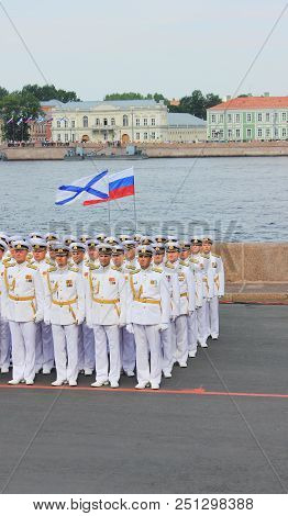 St. Petersburg, Russia - July 26, 2018: Navy Officers Of Russian Army In White Formal Uniform At Nav