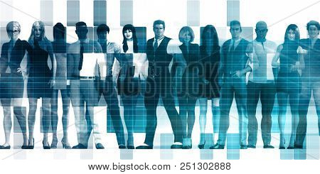 Business People Abstract with Diverse Group Standing Together