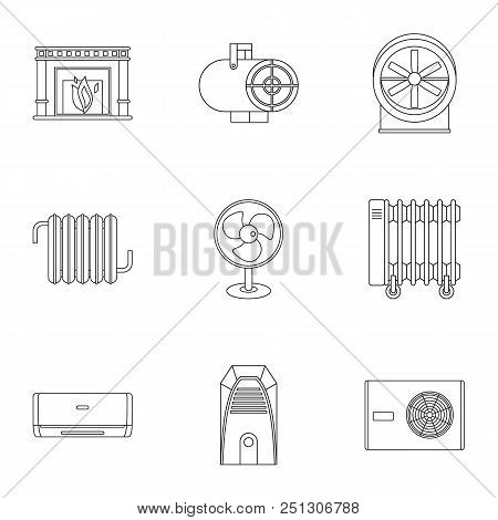 Heating Convector Icon Set. Outline Style Set Of 9 Heating Convector Vector Icons For Web Isolated O