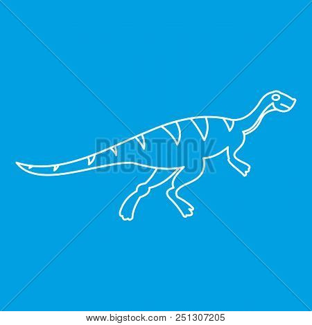 Gallimimus Icon Blue Outline Style Isolated Vector Illustration. Thin Line Sign