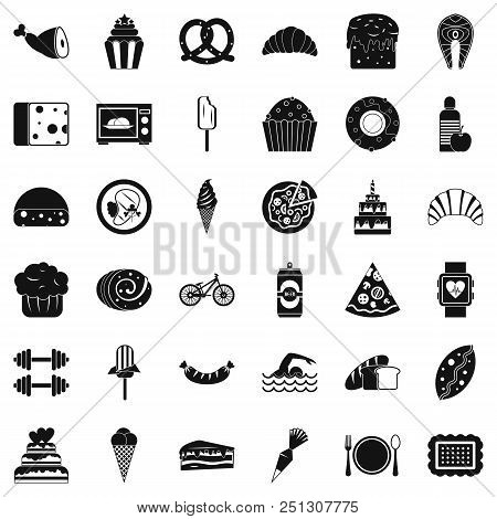 Many calories icons set. Simple style of 36 many calories vector icons for web isolated on white background poster