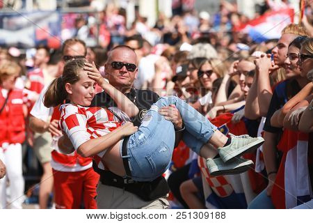 Zagreb, Croatia - July 16, 2018 : Croatia National Team Welcome Home Celebration For 2nd Place On Fi