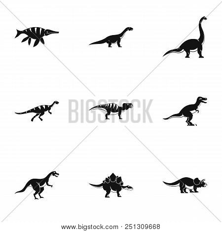 Figures Dinosaur Icons Set. Simple Set Of 9 Figures Dinosaur Vector Icons For Web Isolated On White