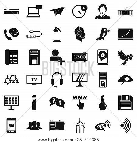 Global Communication Icons Set. Simple Style Of 36 Global Communication Vector Icons For Web Isolate