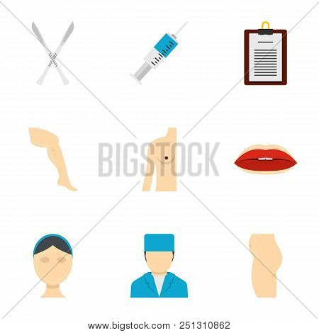 Cosmetic Surgery Icon Set. Flat Style Set Of 9 Cosmetic Surgery Vector Icons For Web Isolated On Whi