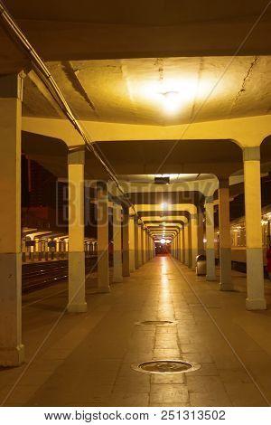 Railway Station Platform At Night No One