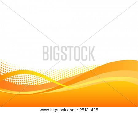 Dynamic orange swoosh halftone background in Vector format