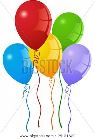 Colorful party balloons with curly ribbons