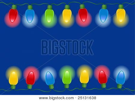 Christmas lights border with dark blue background