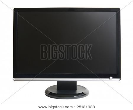 frontal view of computer lcd monitor isolated on white
