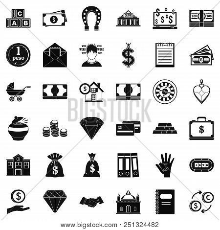 Deposit Account Icons Set. Simple Style Of 36 Deposit Account Vector Icons For Web Isolated On White