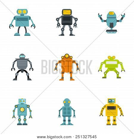 Electronic Robot Icons Set. Flat Set Of 9 Electronic Robot Vector Icons For Web Isolated On White Ba