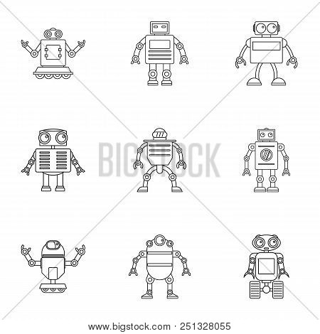 Electronic Robot Icons Set. Outline Set Of 9 Electronic Robot Vector Icons For Web Isolated On White