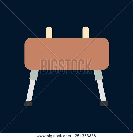 Vector Color Game Icon Gymnast Vaulting Horse. Sport Equipment, Success Symbol. Athletic Competition