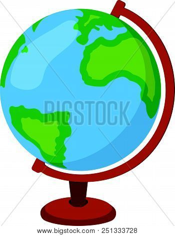 Globe. School Supplies Icon And Logo. Isolated Design Element. Vector Cartoon Illustration.