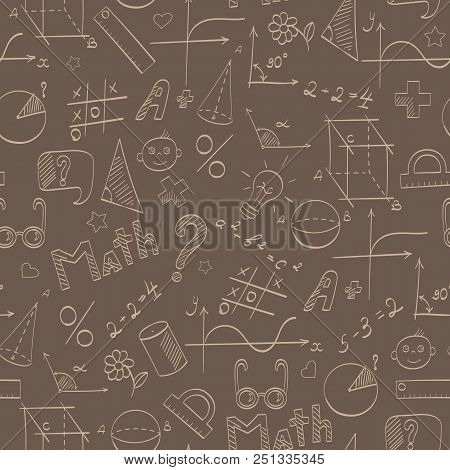 Seamless Pattern On The Theme Of The School, Of Education And Of The Subject Mathematics, The Beige