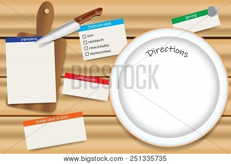 Cooking Wooden Board With A Empty Plate Ready For Direction Text. Cooking Board Contains Cutting Boa