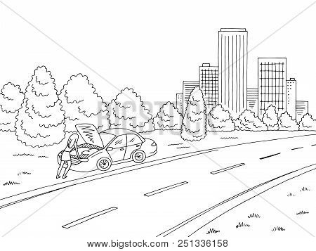 Broken Car Graphic Black White Road Landscape City Sketch Illustration Vector. Woman Standing