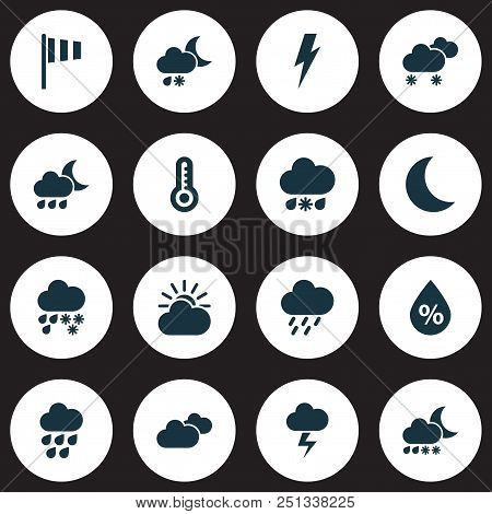 Weather Icons Set With Humidity, Storm, Heavy Rain And Other Deluge Elements. Isolated  Illustration