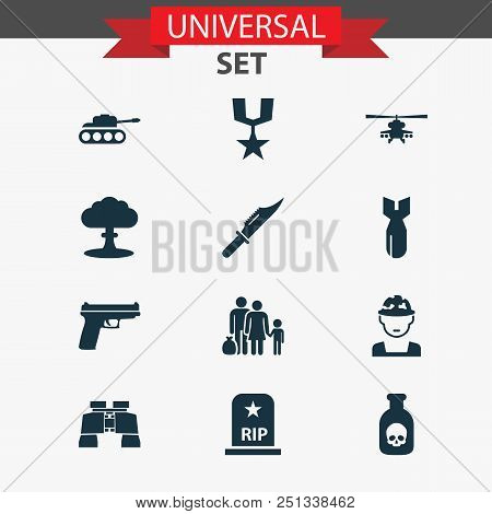 Battle icons set with soldier, binoculars, tank and other fugitive elements. Isolated  illustration battle icons. poster