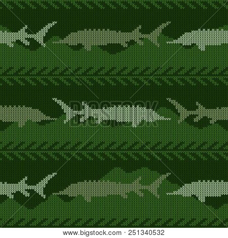 Knitted Woolen Seamless Pattern With Sturgeons In Green Tones. Night Under Water