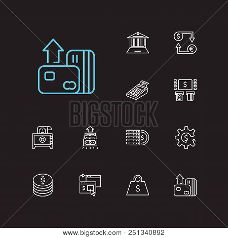Money Payment Icons Set. Credit Card And Money Payment Icons With Online Payment, Pos Terminal And C