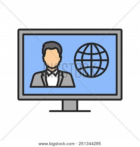 Tv News Color Icon. Newscaster On Television Set Display. Isolated Vector Illustration