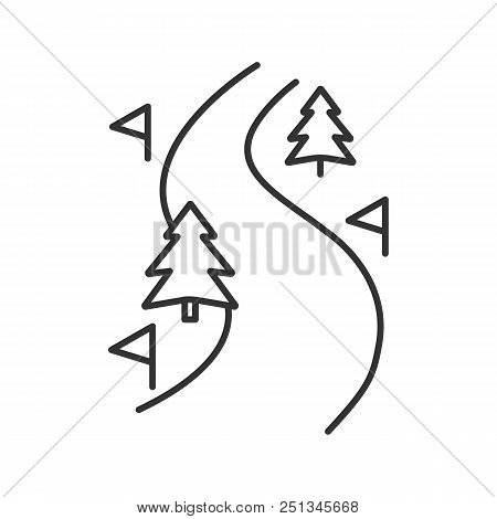 Ski Route Linear Icon. Thin Line Illustration. Winter Forest Road. Mountain Landscape. Contour Symbo