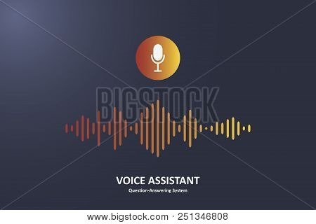 Personal Voice Assistant And Question-answering System Concept. Microphone Button And Voice Sound Wa