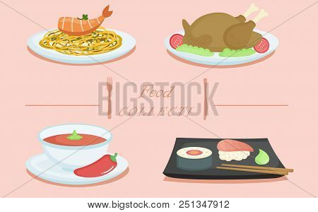 Cartoon Set Of Traditional Indian Food In Different Dishes. Indian Food Delicious With Sauce And Spi