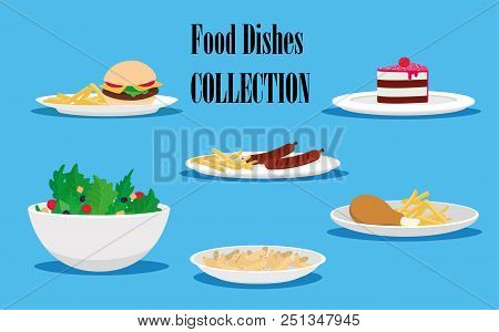 Picking Food, Salad, Pasta, Chicken Leg, Hamburger With Kortoshka, Cake, Flat Design. Vector Illustr