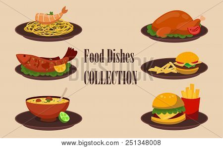 Collection Of Dishes, Soup, Salad, Pasta With Shrimps, Chicken Breast, Hamburger With Kortoshka. Fla