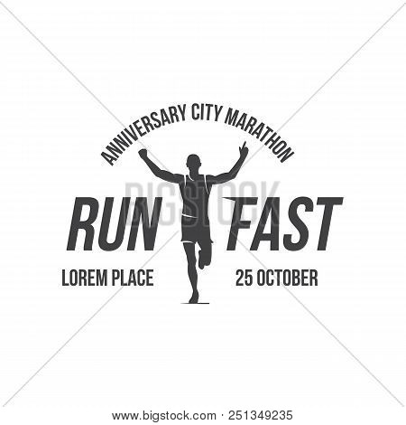 Run Club Logo, Emblem With Abstract Running Man Silhouette, Label For Sports Club, Sport Tournament,