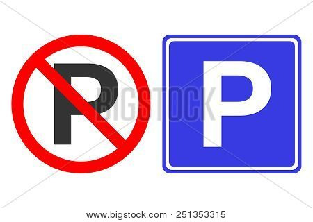 No Parking Sign In Crossed Out Red Circle. European Parking Area Sign In Blue Square. Vector Icon.