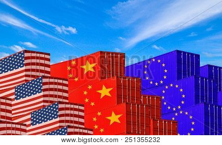 Concept Image Of  Usa-china-eu Trade War, Economy Conflict, Us Tariffs On Exports To China And Eu, T