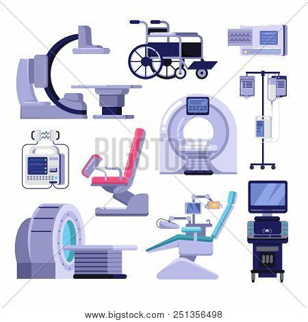 Medical Diagnostic And Examination Equipment. Vector Illustration Of Mri Scanner, Gynecology And Den